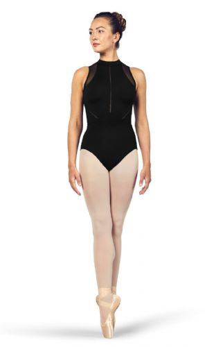 BLOCH Ladies Dance High Neckline Zip Open Back Halter Leotard Loanne L4985 Black